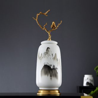 Lamp act the role ofing furnishing articles form a complete set of new Chinese style ceramic vases, cut all of I and contracted copper art hand - made decorative landscape