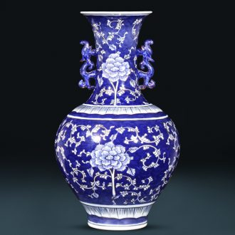 The Master of jingdezhen ceramics hand - made paint Chinese sitting room adornment is placed large blue and white porcelain vases, flower arrangement