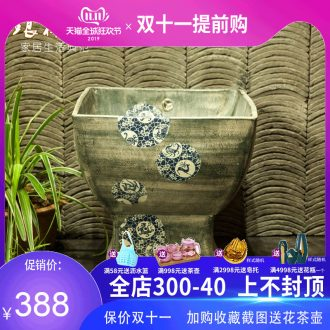 Indoor and is suing ceramic art basin mop mop pool ChiFangYuan one - piece mop pool 42 cm diameter blue embroider in spirit