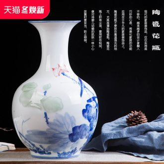Jingdezhen ceramics vase hand - made carving shadow green lotus pond interest series of new Chinese style household adornment furnishing articles