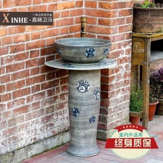 The sink ceramic basin bathroom balcony column column hand-painted one floor column pool art wash basin