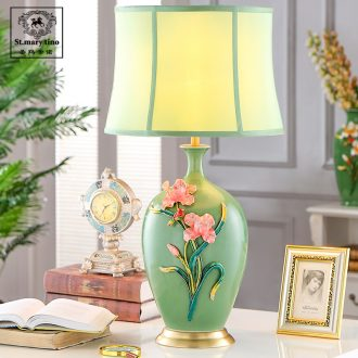 Santa marta American desk lamp light colored enamel porcelain French rural living room key-2 luxury European - style bedroom berth lamp green study