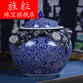 Continuous grain of retro pu 'er tea pot of blue and white porcelain of jingdezhen ceramics POTS in large tea seal