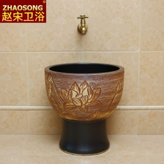 New Chinese style of archaize ceramic mop pool large round home floor mop the floor balcony mop mop pool trough basin