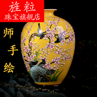 Continuous grain of jingdezhen ceramic hand - made vases of new Chinese style household living room TV cabinet decoration flower arrangement