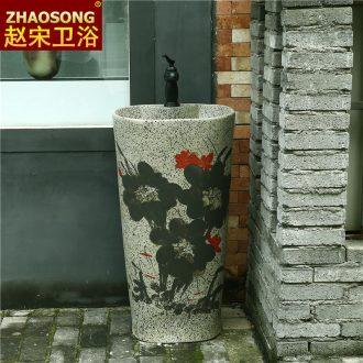 Retro pillar lavabo lavatory ceramic column basin integrated balcony floor toilet basin art