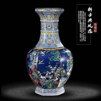 Archaize of jingdezhen ceramics colored enamel vase sitting room decorates household desktop furnishing articles study of new Chinese style decoration