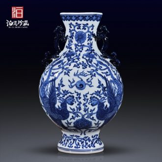 Jingdezhen ceramic imitation the qing qianlong double phoenix grain ear vase Chinese sitting room porch TV ark adornment furnishing articles