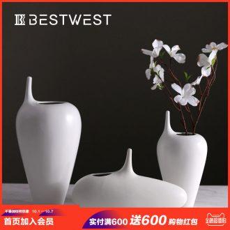 White matte fine large ceramic vase dried flowers flower arrangement wine porch sitting room place home decoration