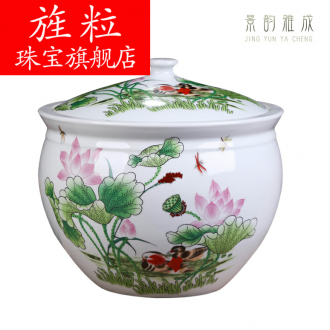 Continuous grain of jingdezhen ceramics with cover decoration storage tank meters large creative new Chinese style jar jar