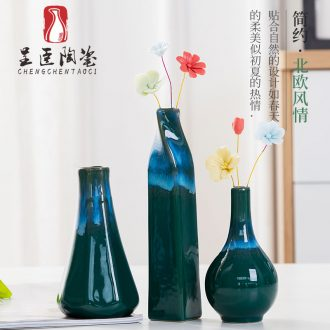 Jingdezhen ceramic vase flower arranging furnishing articles I and contracted sitting room small and pure and fresh Nordic TV ark, adornment