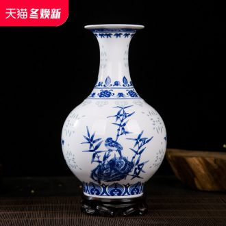 Jingdezhen ceramics and exquisite painting of flowers and blue and white porcelain vase household adornment of I and contracted wine study furnishing articles