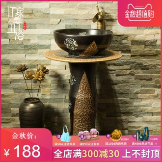 M beautiful balcony toilet ceramic basin on the one-piece jump knife stone yellow lavatory basin that wash a face to wash your hands