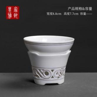 Royal elegant double exquisite hollow out tea filter blue and white porcelain ceramic tea set tea strainer screen cloth filter)