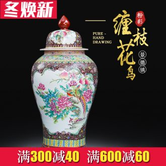 Jingdezhen heavy hand draw general powder enamel pot ceramics big vase furnishing articles furnishing articles Chinese style living room floor decoration