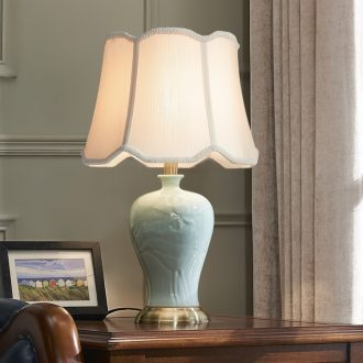 American ceramic desk lamp lamp of bedroom the head of a bed I and contracted creative new Chinese style wedding home sitting room sweet got connected