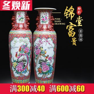 Jingdezhen ceramics hand - made notes tong wealth of large vases, Chinese style living room decoration villa large furnishing articles