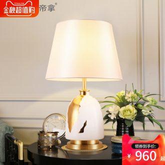 American desk lamp ceramic romantic wedding room home European Nordic ins contracted and contemporary sweet bedroom berth lamp