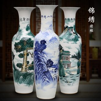 Jingdezhen hand-painted bright future of blue and white porcelain vase of large living room household ceramics decoration large furnishing articles