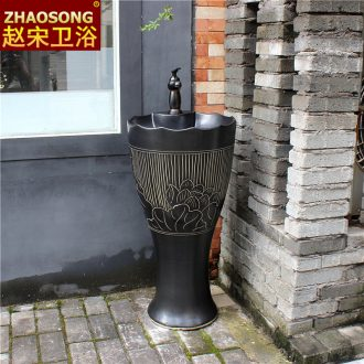New Chinese style floor ceramic household one pillar basin sinks outdoor toilet lavabo restoring ancient ways is the balcony