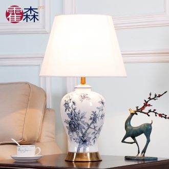 The New Chinese blue and white porcelain lamp classical key-2 luxury vintage American ceramic bedroom the head of a bed lamp is contracted and I sitting room