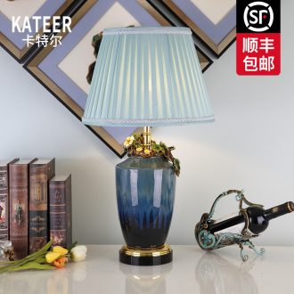 Cartel colored enamel porcelain lamp sitting room key-2 luxury atmosphere type villa crystal lamp of bedroom the head of a bed