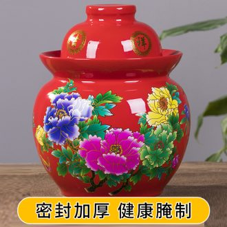 Ceramic kimchi altar thickening sealed jar with cover earthenware pickles by household size sichuan pickle jar