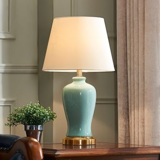 Nordic light key-2 luxury American ceramic desk lamp light warm idea of bedroom the head of a bed contracted and I sitting room is adjustable light