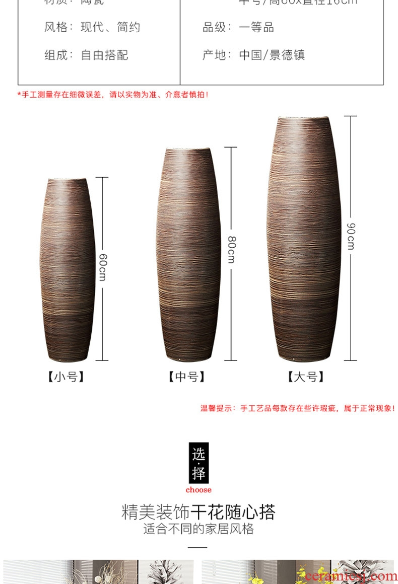 Be born big ceramic vase Chinese style restoring ancient ways furnishing articles sitting room hotel lobby up household soft adornment flower arranging device - 600118891644