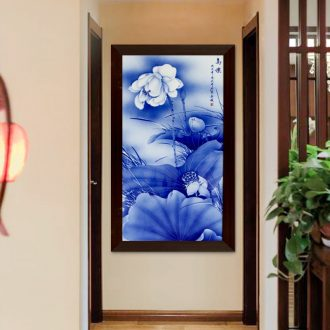 Ceramic plate painting murals sofa background wall of the sitting room adornment I and contracted vertical version of porch corridor lotus hang a picture