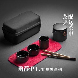 Evan ceramic kung fu tea set travel crack suit portable outdoor a pot of three small Japanese ceramics