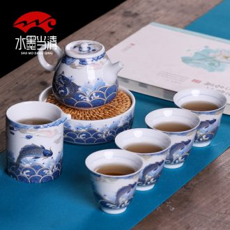 Blue and white porcelain tea sets of small household kung fu ceramic cups a pot of four cups of high-end gift box office gifts