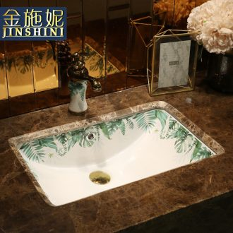 Ceramic undercounter lavabo square Ceramic basin washing a face embedded household small family toilet wash basin