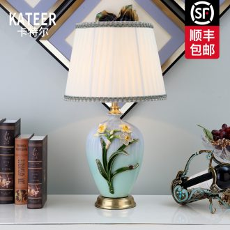 Cartel full copper colored enamel porcelain lamp sitting room key-2 luxury European American ideas of bedroom the head of a bed lamp act the role ofing villa