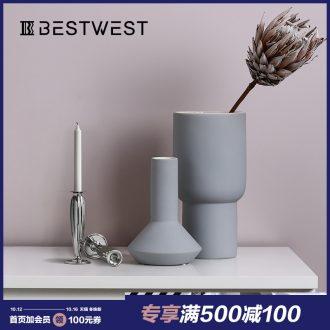 BEST WEST creative ceramic vase furnishing articles morandi light color is boreal Europe style of soft decoration decoration key-2 luxury