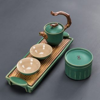 Kung fu tea set two small suit a pot of two ceramic tea tray household contracted office teapot dry tea table