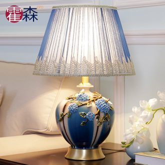 American bedroom berth lamp example room blue enamel color restoring ancient ways creative ceramic desk lamp of the sitting room is blue and white porcelain lamp