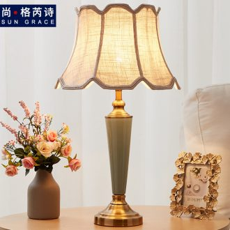 American fashion ceramic desk lamp warm creative living room european-style household adjustable Nordic ins bedroom berth lamp light