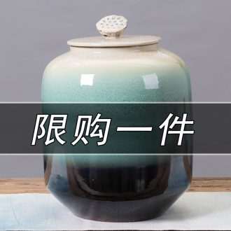 Jingdezhen ceramic barrel rice bucket 50 jins home 20 jins storage bins with cover seal insect-resistant moistureproof ricer box