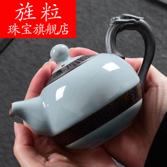 Continuous grain ceramic kung fu tea kettle creative household elder brother up your up cracked teapot tea