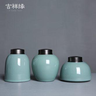 Auspicious edge metal ceramic tea pot celadon sealed tank cover cover save tea storage tank Japanese household moistureproof POTS