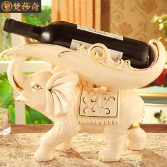 Key-2 Luxury European - style ceramic elephant wine frame creative wine sitting room adornment is placed household decoration wedding gift