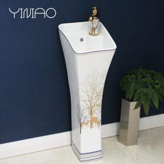 Ceramic basin of pillar type lavatory retro art basin is suing pillar one floor toilet lavabo