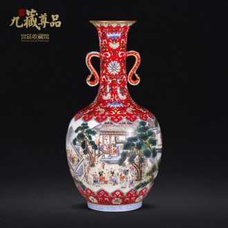 Archaize colored enamel medallion the ancient philosophers filled with a pair of jingdezhen ceramic vases, antique collection of Chinese style furnishing articles