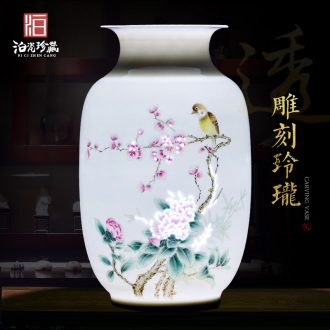 Jingdezhen ceramic hand - made flower arranging thin foetus vase furnishing articles of modern Chinese style of new Chinese style household, sitting room porch decoration