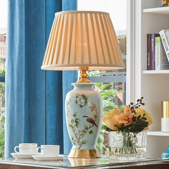 Long three American ceramic desk lamp manual ceramic retro hand-painted sitting room lamps and lanterns of big desk lamp of bedroom the head of a bed