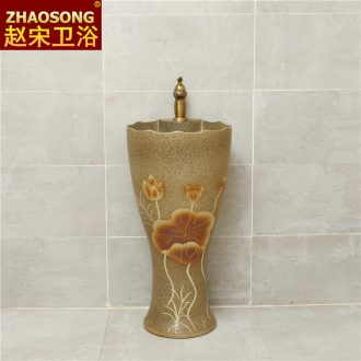 Zhao song home one-piece ceramic column basin bathroom floor type restoring ancient ways the sink large sink hotel
