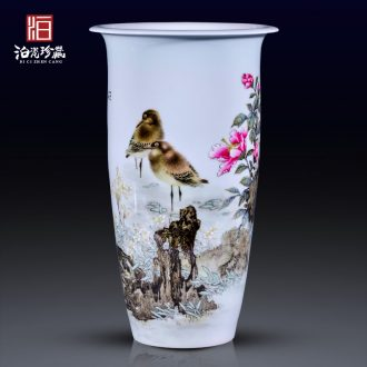 Jingdezhen ceramic all hand-painted flower vase decoration decorate the sitting room of Chinese style household study collection flower arranging furnishing articles