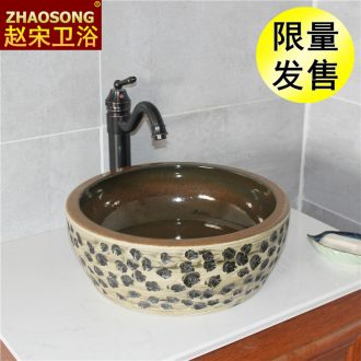 Domestic large basin of Chinese style restoring ancient ways on the ceramic toilet lavatory toilet lavabo American archaize balcony