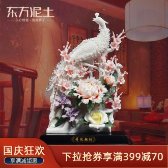 Oriental clay ceramic flower place new Chinese style into the sitting room porch decoration decoration/red phoenix in morning sun